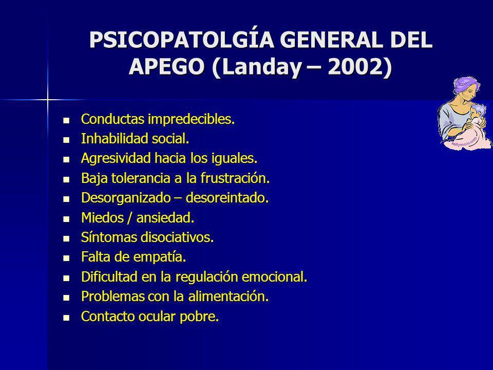 PSICOPATOLGÍA GENERAL DEL APEGO (Landay – 2002)
