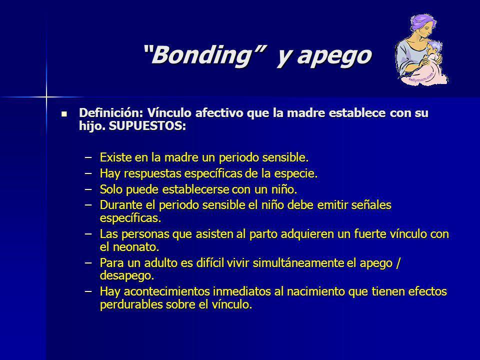 Bonding y apego Definición: Vínculo afectivo que la madre establece con su hijo. SUPUESTOS: Existe en la madre un periodo sensible.
