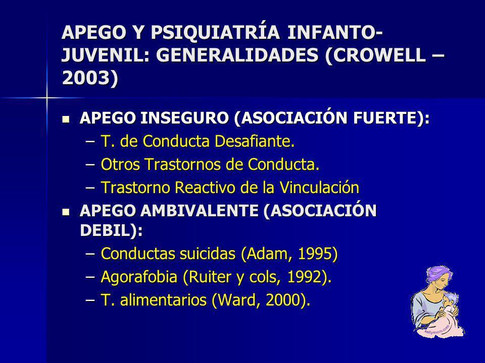 APEGO Y PSIQUIATRÍA INFANTO-JUVENIL: GENERALIDADES (CROWELL – 2003)