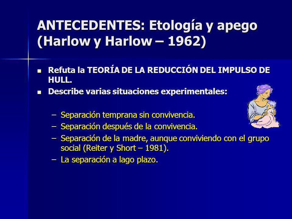 ANTECEDENTES: Etología y apego (Harlow y Harlow – 1962)