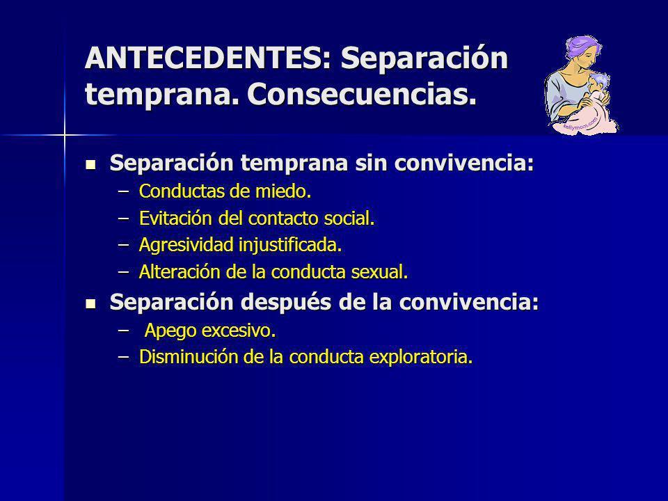 ANTECEDENTES: Separación temprana. Consecuencias.