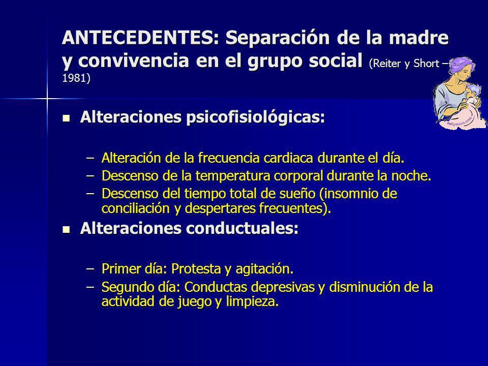 ANTECEDENTES: Separación de la madre y convivencia en el grupo social (Reiter y Short – 1981)