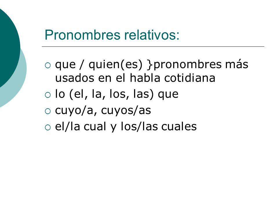 Pronombres relativos: