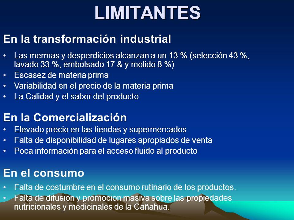 LIMITANTES En la transformación industrial En la Comercialización