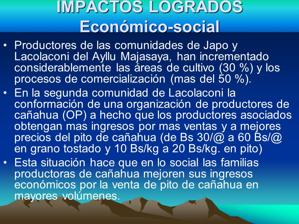 IMPACTOS LOGRADOS Económico-social