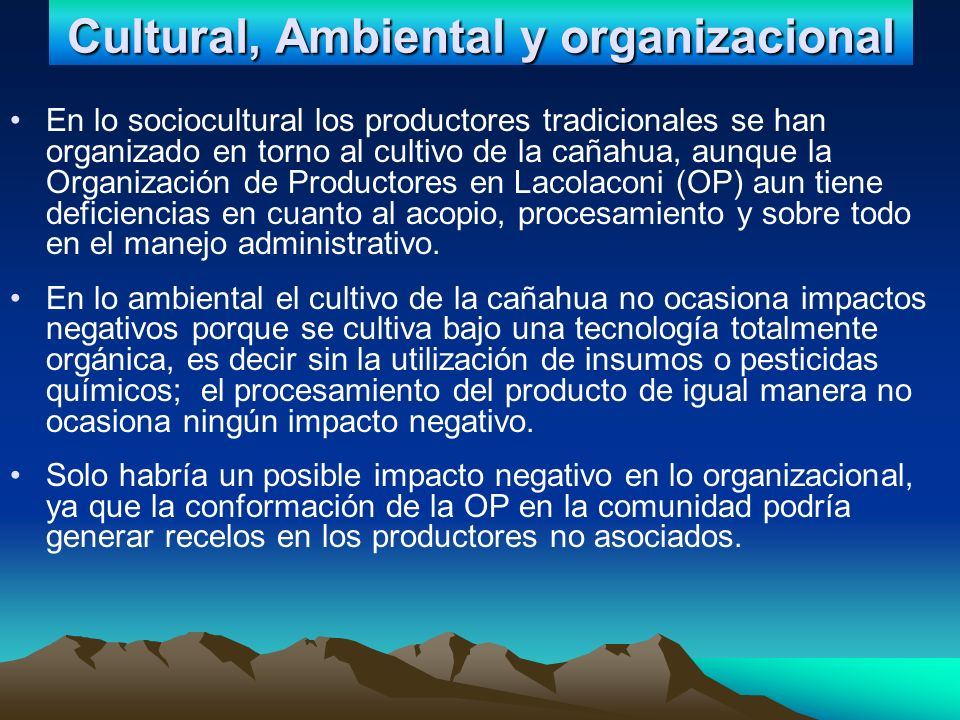 Cultural, Ambiental y organizacional