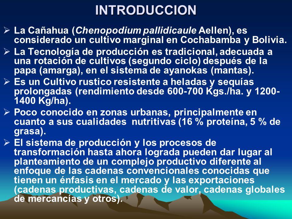 INTRODUCCIONLa Cañahua (Chenopodium pallidicaule Aellen), es considerado un cultivo marginal en Cochabamba y Bolivia.