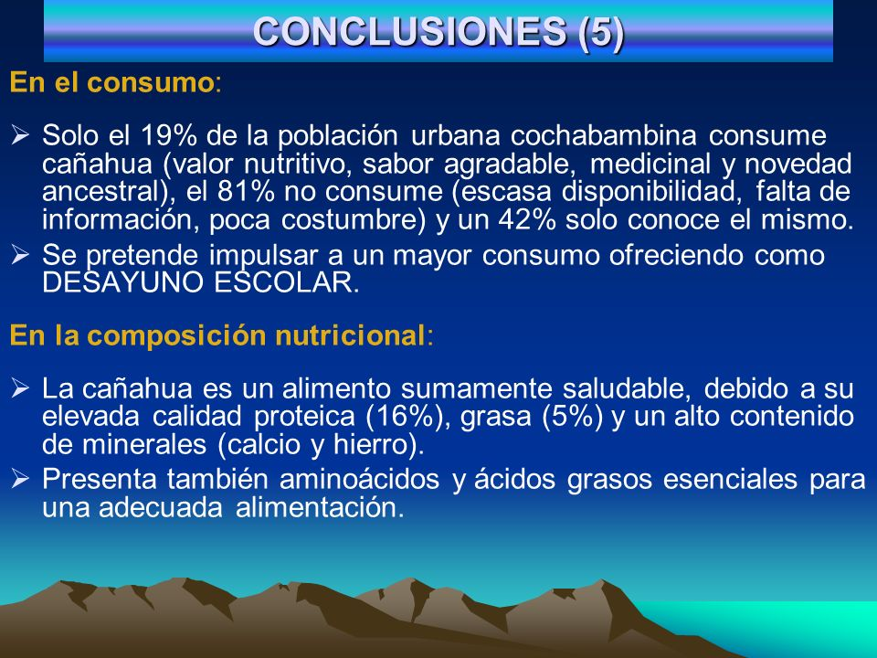 CONCLUSIONES (5) En el consumo: