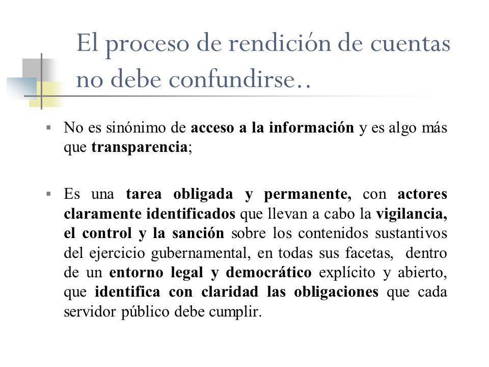 El proceso de rendición de cuentas no debe confundirse..