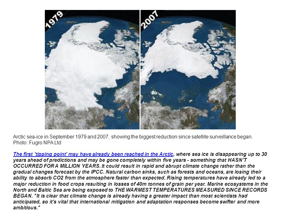Arctic sea-ice in September 1979 and 2007, showing the biggest reduction since satellite surveillance began. Photo: Fugro NPA Ltd