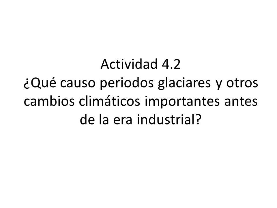Actividad 4.2 ¿Qué causo periodos glaciares y otros cambios climáticos importantes antes de la era industrial