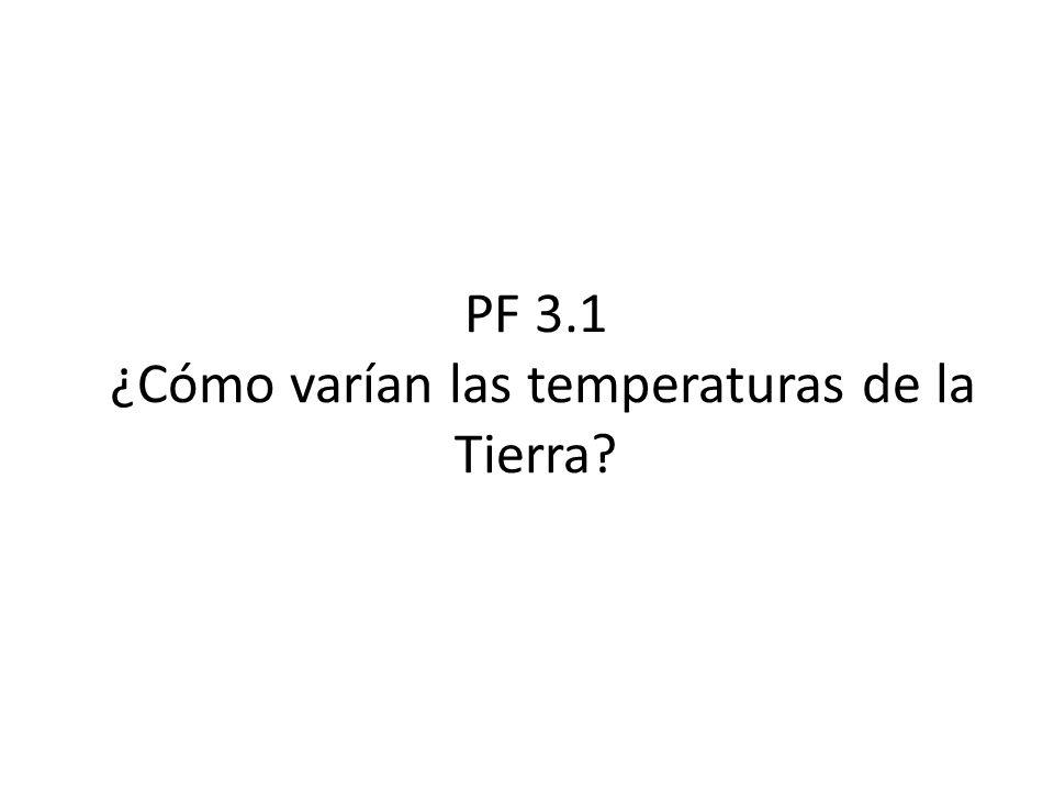 PF 3.1 ¿Cómo varían las temperaturas de la Tierra