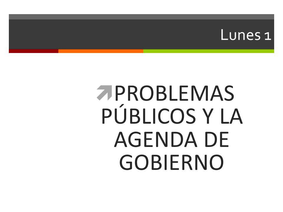PROBLEMAS PÚBLICOS Y LA AGENDA DE GOBIERNO