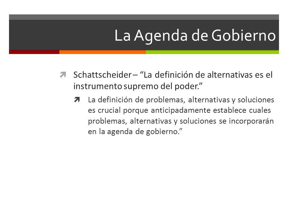 La Agenda de Gobierno Schattscheider – La definición de alternativas es el instrumento supremo del poder.