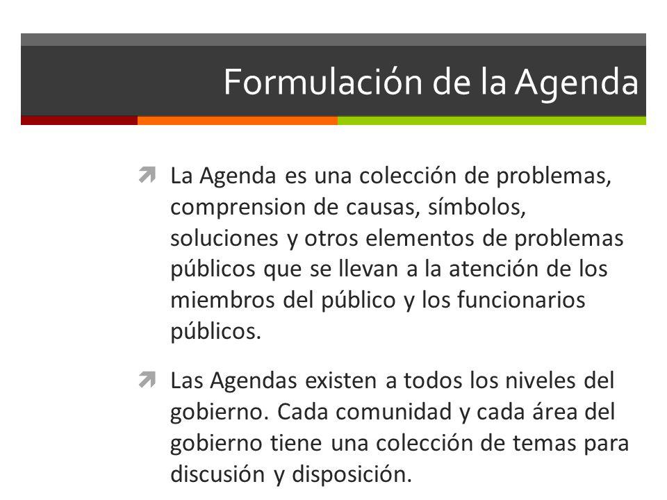 Formulación de la Agenda