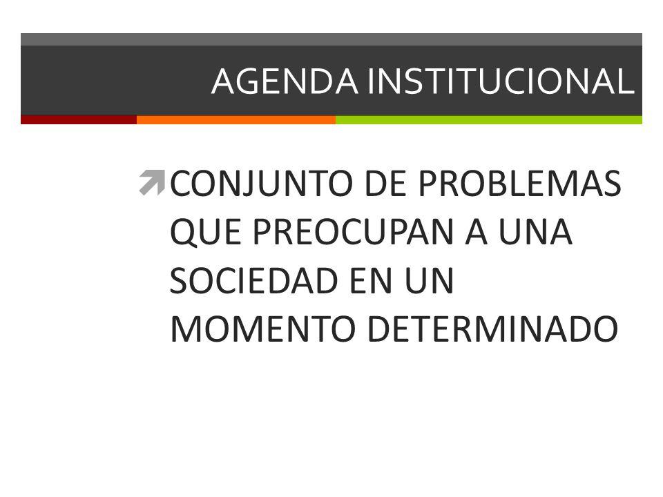 AGENDA INSTITUCIONAL CONJUNTO DE PROBLEMAS QUE PREOCUPAN A UNA SOCIEDAD EN UN MOMENTO DETERMINADO.