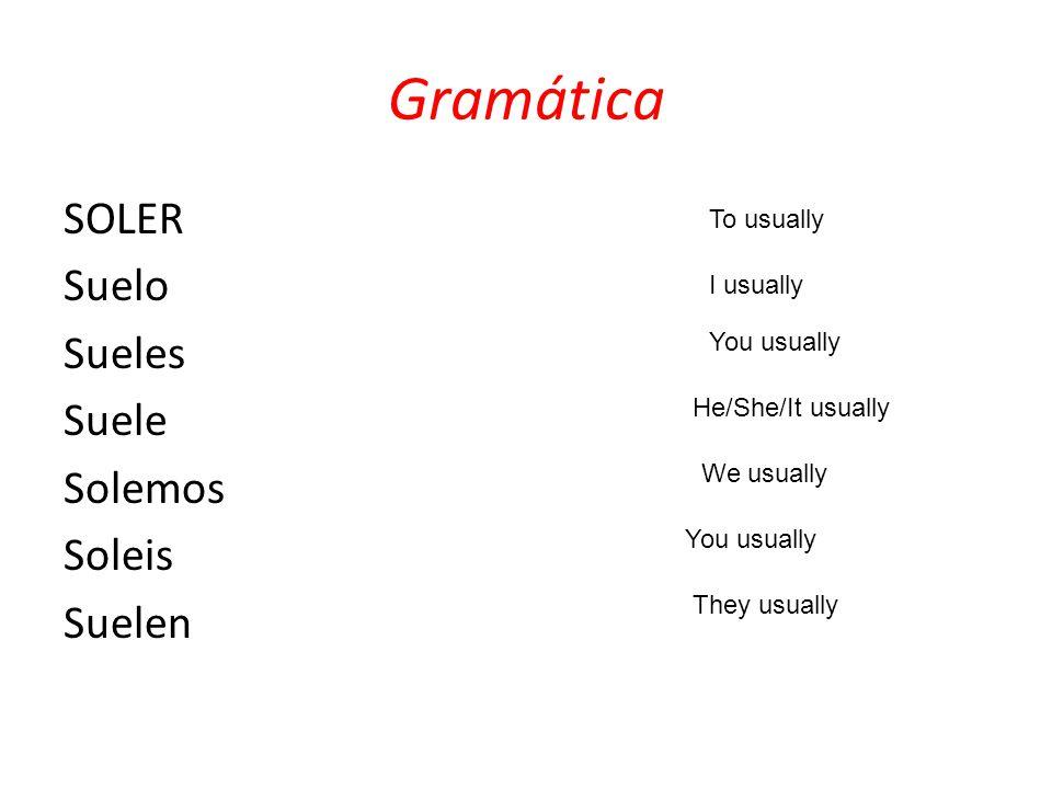 Gramática SOLER Suelo Sueles Suele Solemos Soleis Suelen To usually