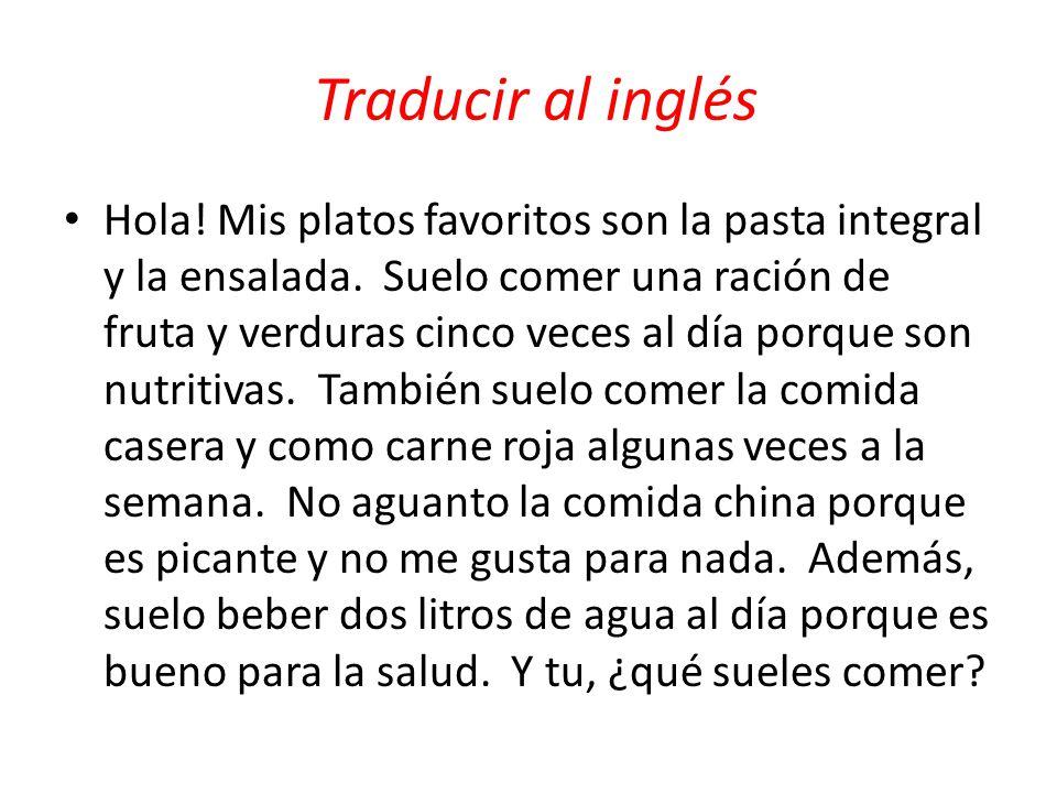 Traducir al inglés