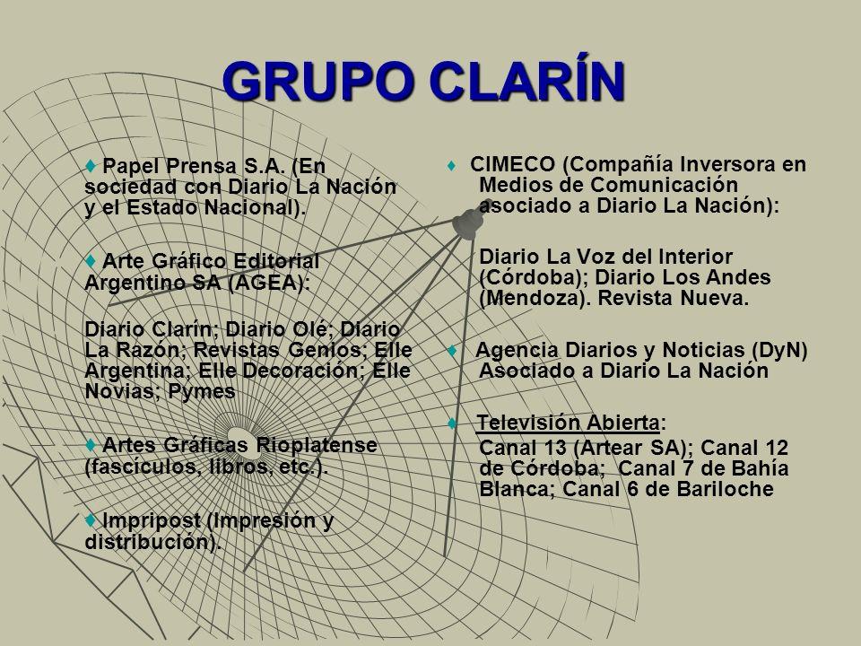 GRUPO CLARÍN ♦ Papel Prensa S.A. (En sociedad con Diario La Nación y el Estado Nacional). ♦ Arte Gráfico Editorial Argentino SA (AGEA):