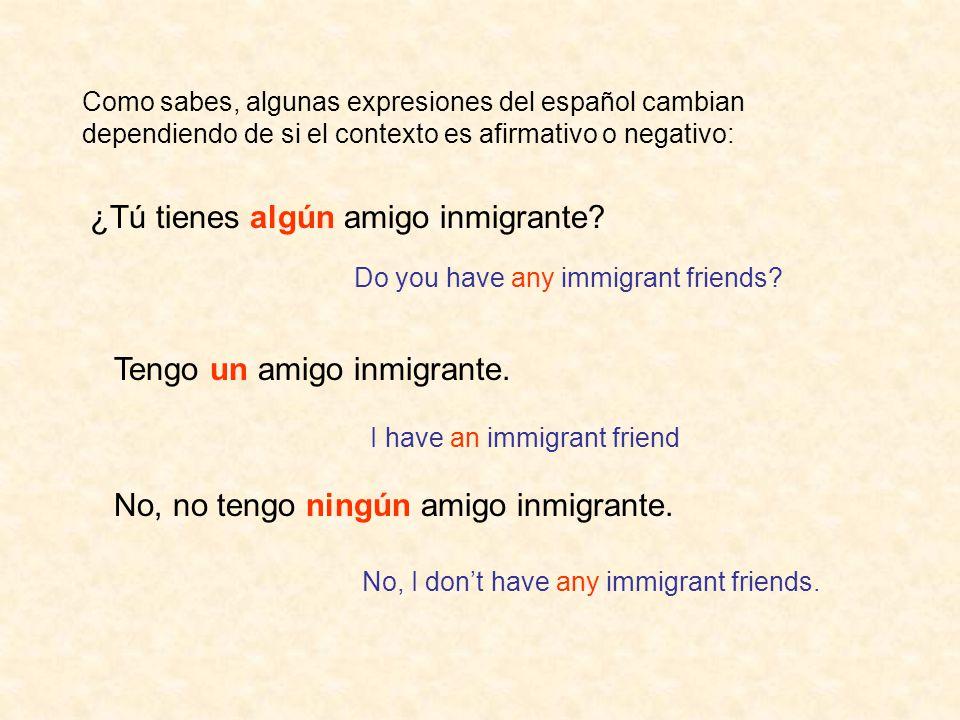 ¿Tú tienes algún amigo inmigrante