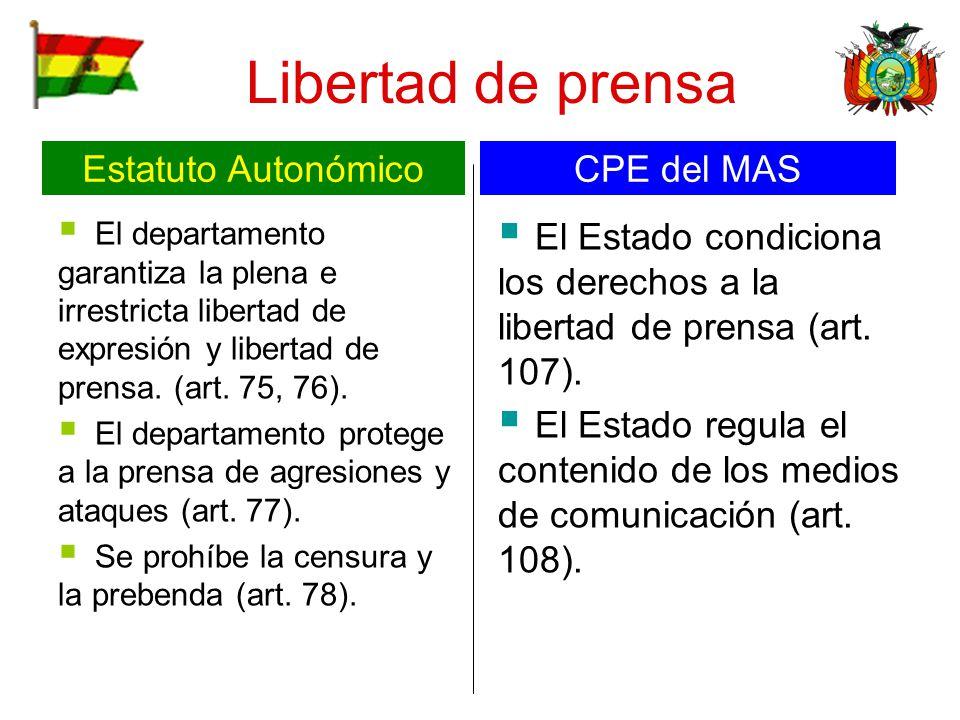Libertad de prensa Estatuto Autonómico CPE del MAS
