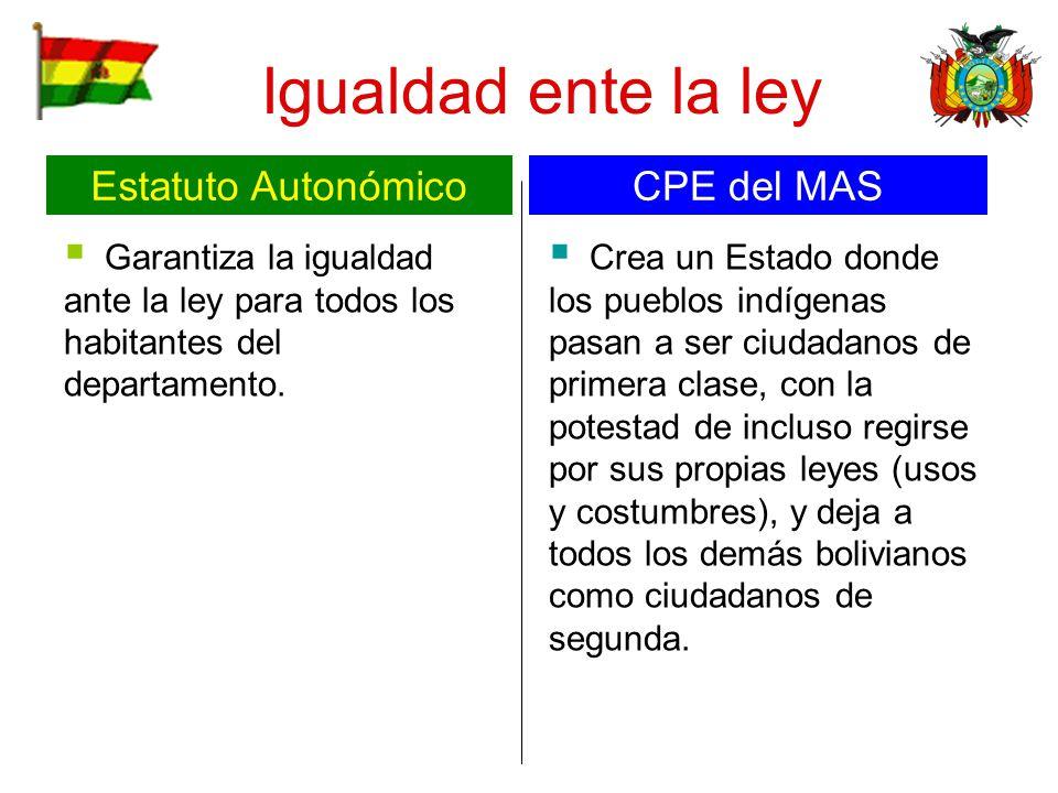 Igualdad ente la ley Estatuto Autonómico CPE del MAS