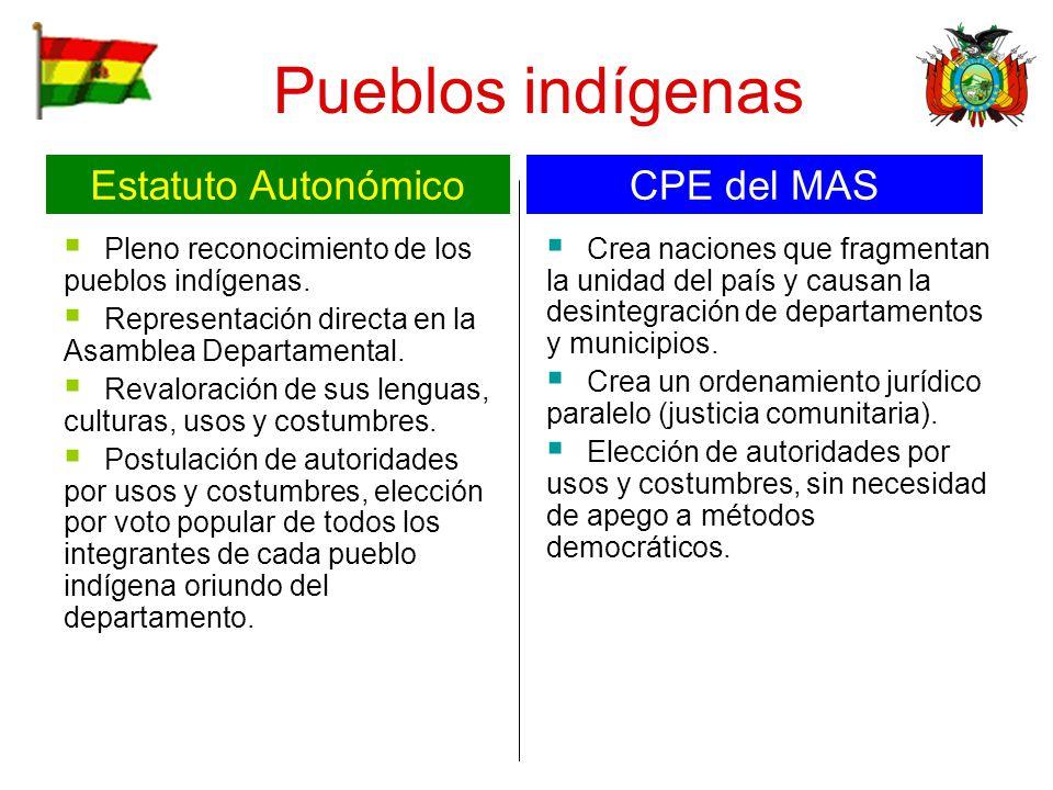 Pueblos indígenas Estatuto Autonómico CPE del MAS