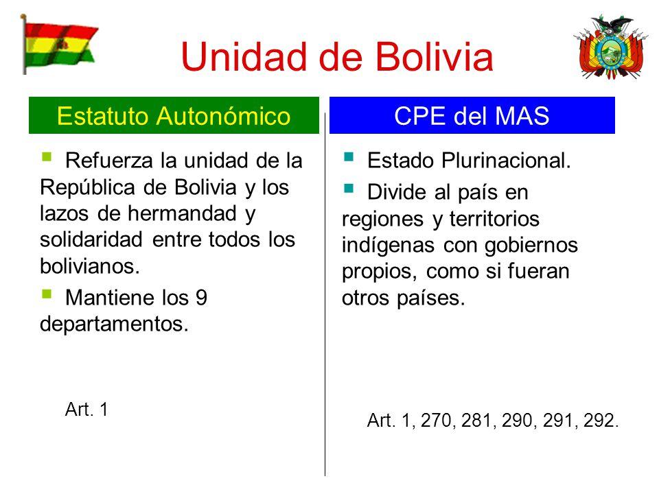 Unidad de Bolivia Estatuto Autonómico CPE del MAS