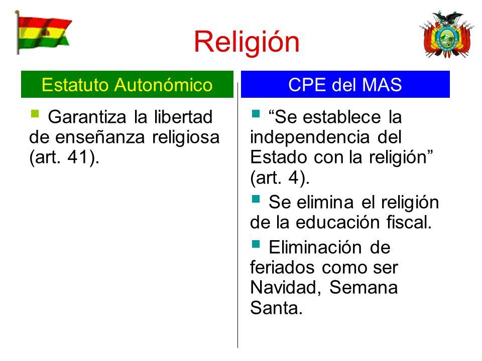 Religión Estatuto Autonómico CPE del MAS