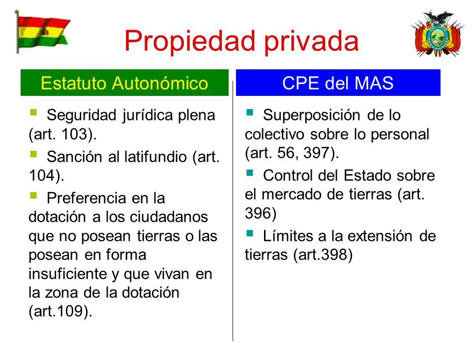 Propiedad privada Estatuto Autonómico CPE del MAS