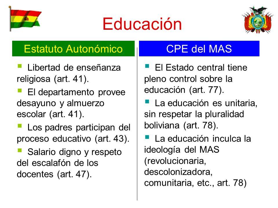 Educación Estatuto Autonómico CPE del MAS