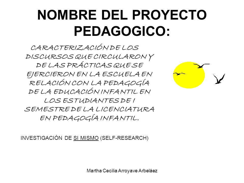 NOMBRE DEL PROYECTO PEDAGOGICO: