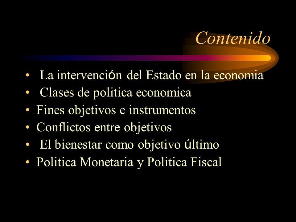 Contenido La intervención del Estado en la economia