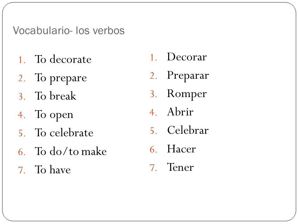 Vocabulario- los verbos