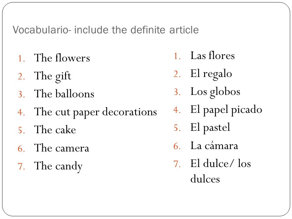 Vocabulario- include the definite article