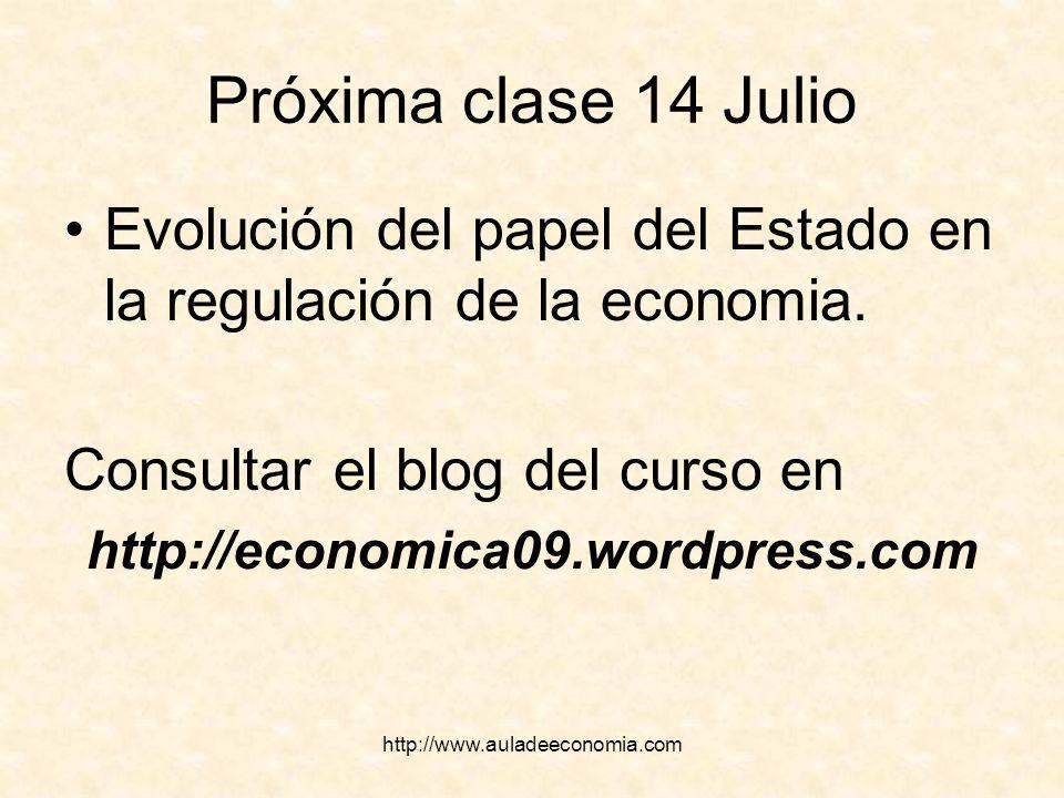 Próxima clase 14 Julio Evolución del papel del Estado en la regulación de la economia. Consultar el blog del curso en.