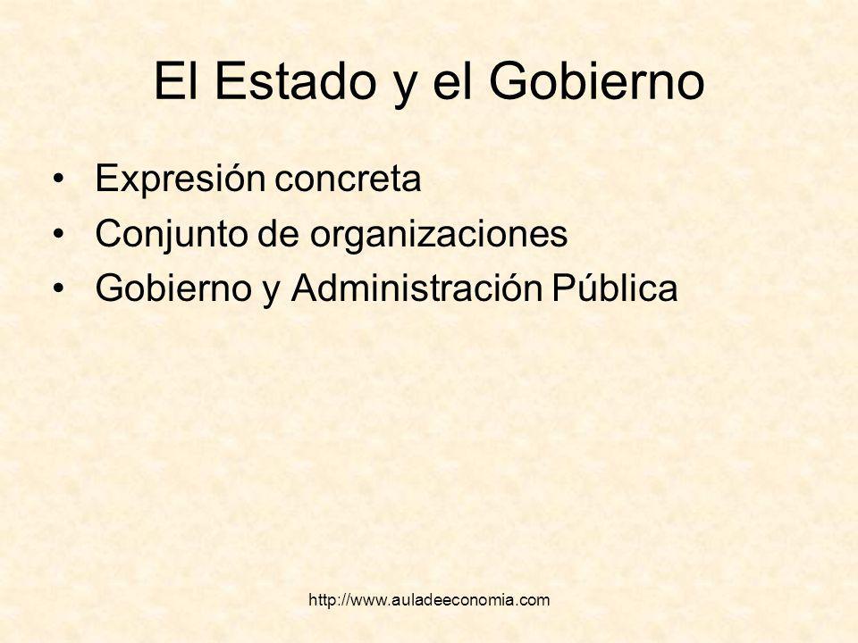 El Estado y el Gobierno Expresión concreta Conjunto de organizaciones
