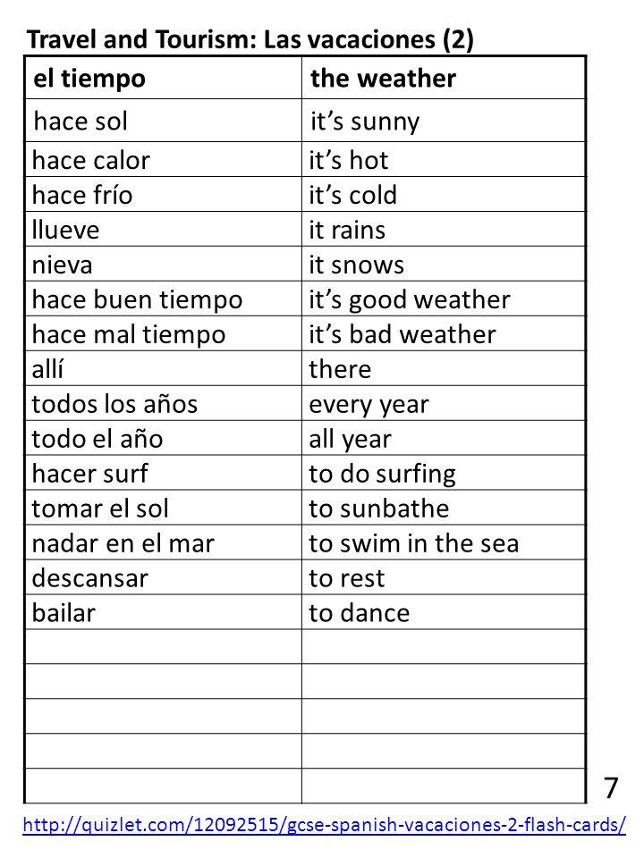 7 Travel and Tourism: Las vacaciones (2) el tiempo the weather