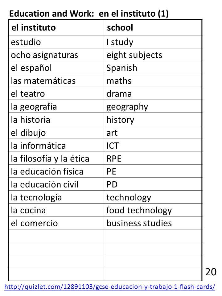 20 Education and Work: en el instituto (1) el instituto school estudio