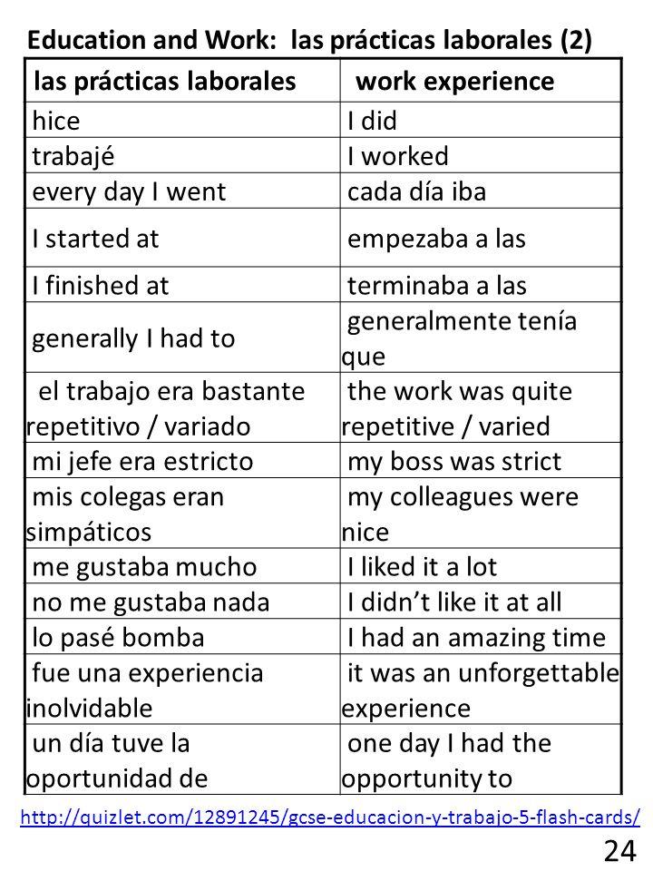 24 Education and Work: las prácticas laborales (2)