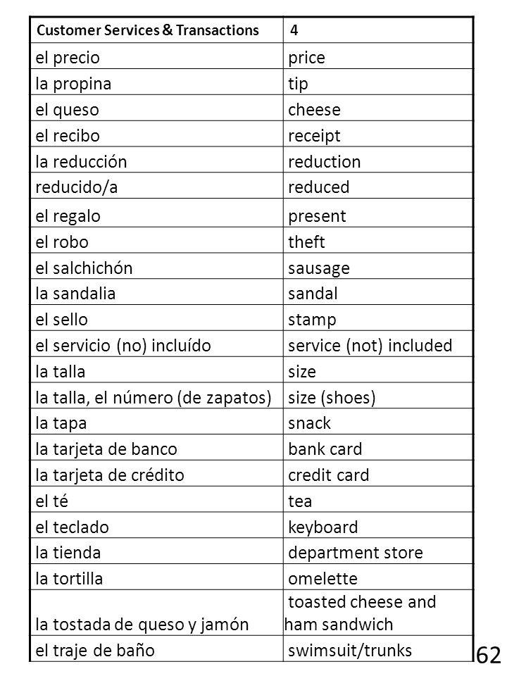 62 el precio price la propina tip el queso cheese el recibo receipt