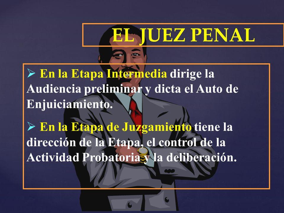 EL JUEZ PENAL En la Etapa Intermedia dirige la Audiencia preliminar y dicta el Auto de Enjuiciamiento.