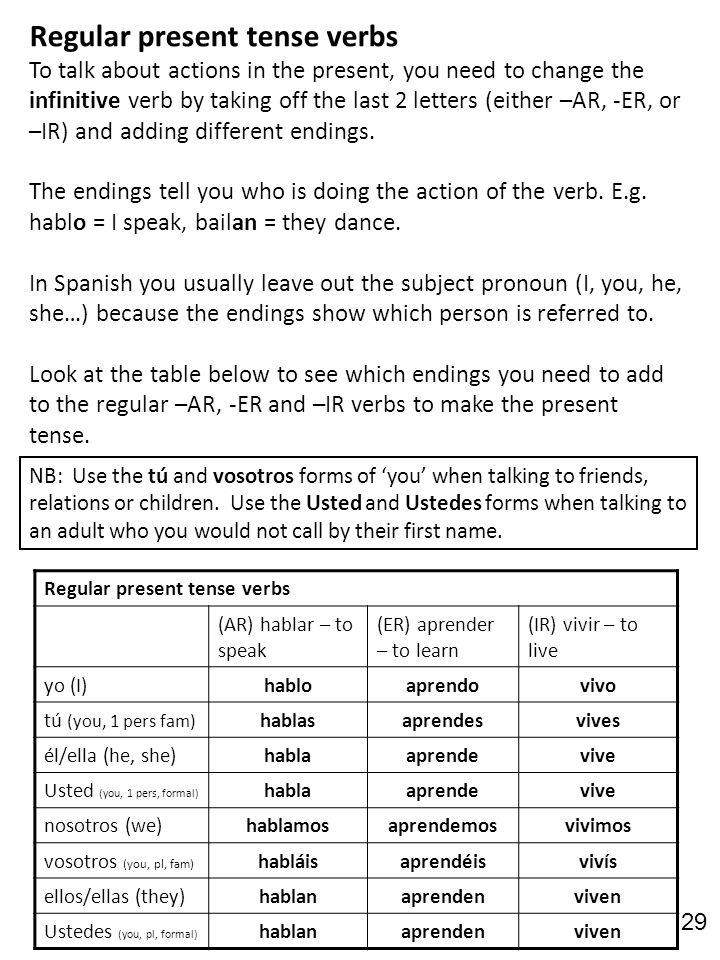 Regular present tense verbs