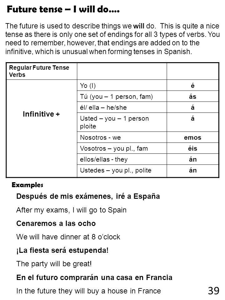 39 Future tense – I will do…. Infinitive + Examples