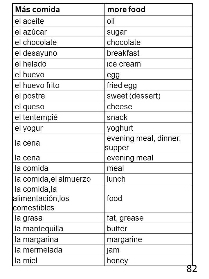 82 Más comida more food el aceite oil el azúcar sugar el chocolate