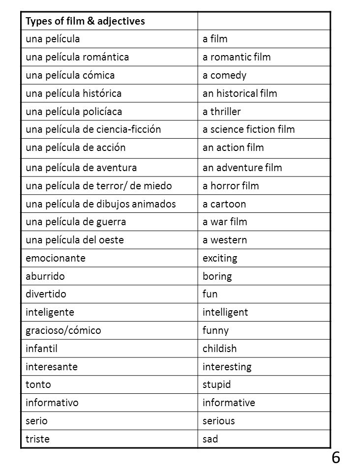 6 Types of film & adjectives una película a film