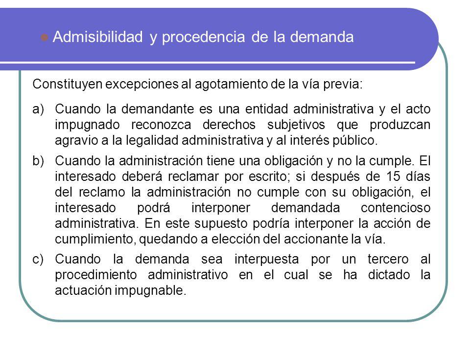 Admisibilidad y procedencia de la demanda