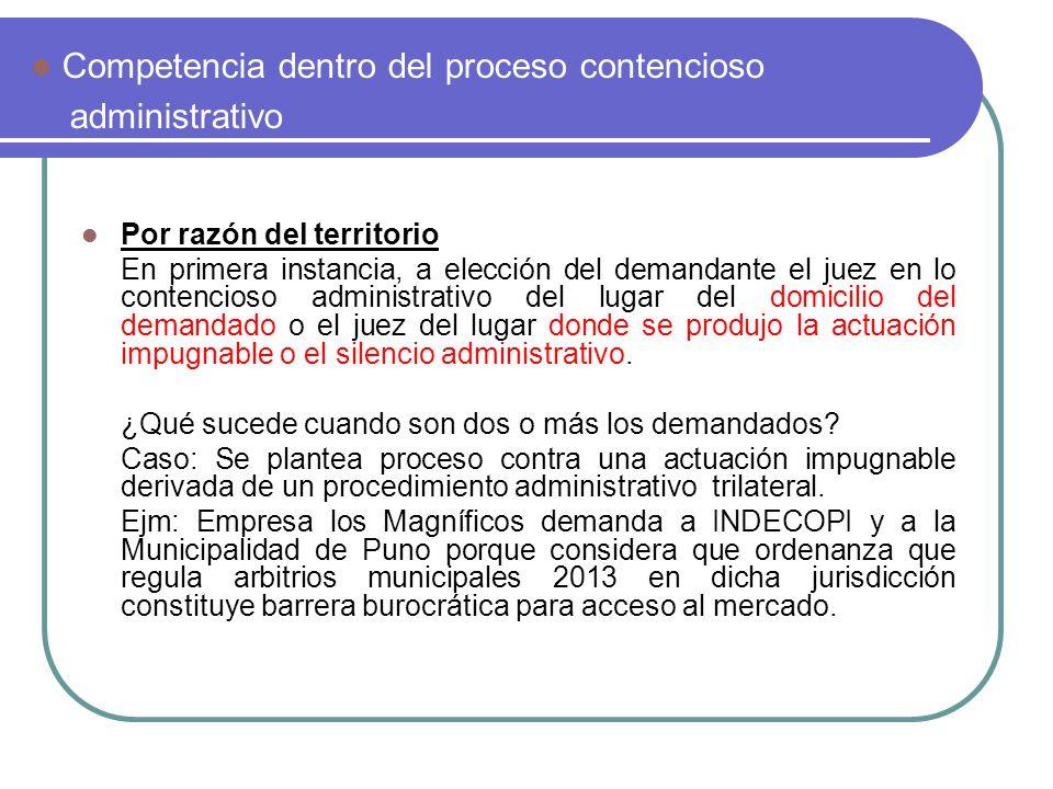 Competencia dentro del proceso contencioso administrativo