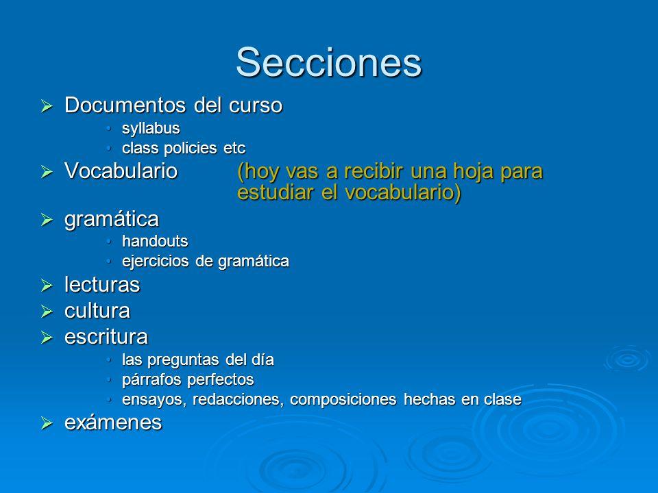 Secciones Documentos del curso