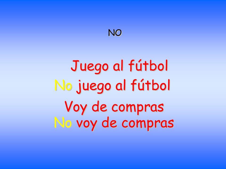 NO Juego al fútbol No juego al fútbol Voy de compras No voy de compras